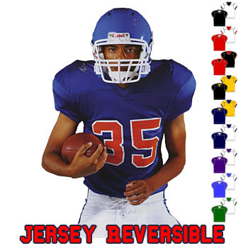 Reversible football jersey great for practice. Full length jersey. Opens on  bottom for easy lettering. Reinforced construction. Ribbed neck and cuffs 4c1476e1d