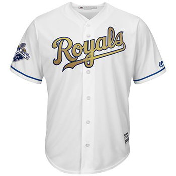 Majestic/MLB Kansas City Royals 2015 World Series Cool Base® Gold Detail + Commemorative  - Champions Patch Limited Edition