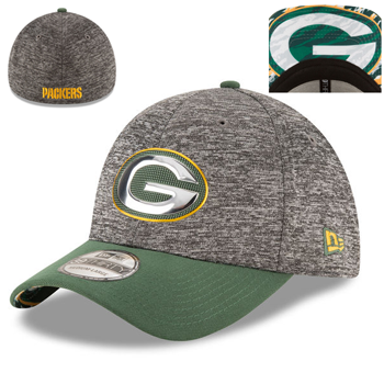 New Era Green Bay Packers Heathered Gray/Green 2016 NFL Draft 39THIRTY Flex Cap