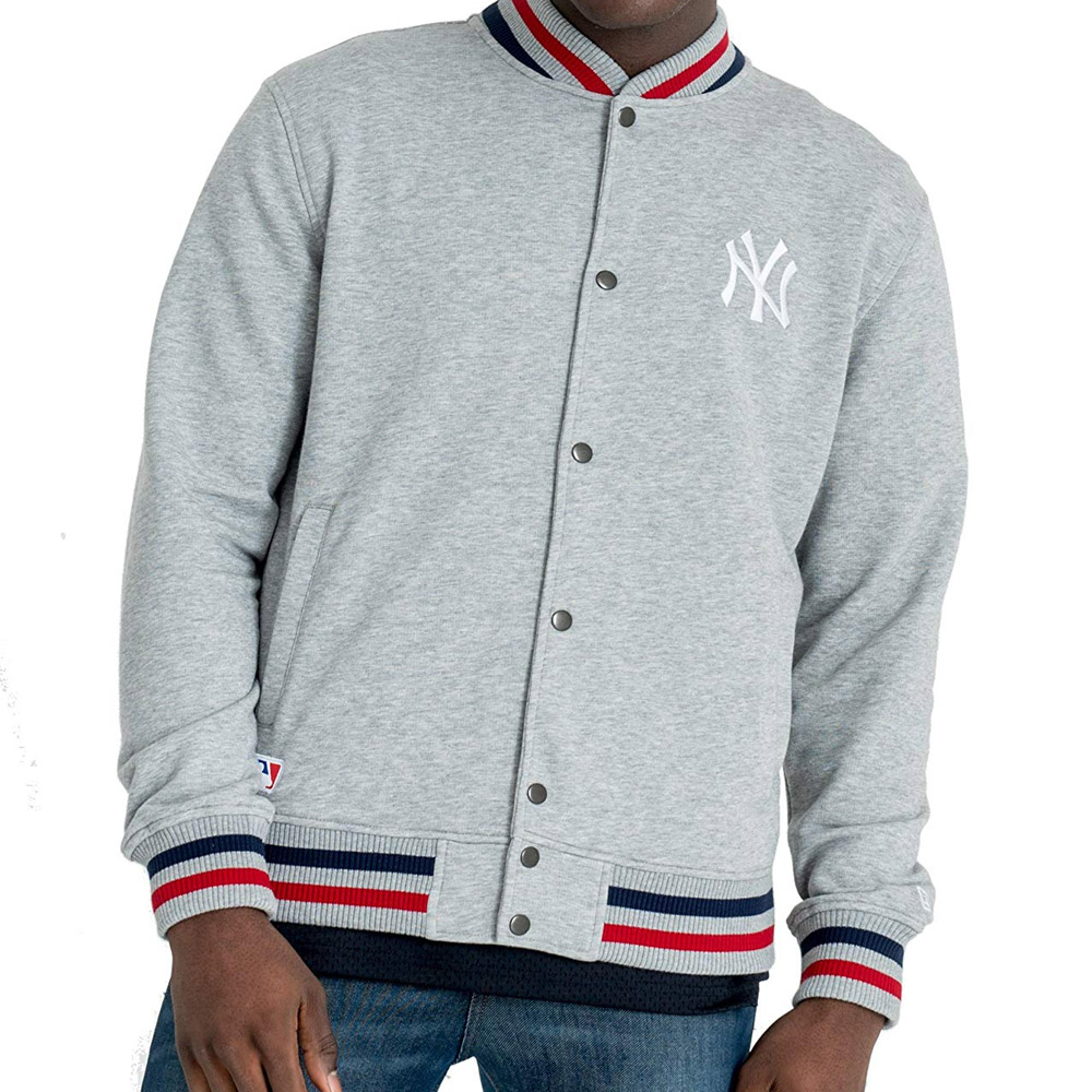 New Era Team Apparel FT Varsity Jacket New York Yankees Grey