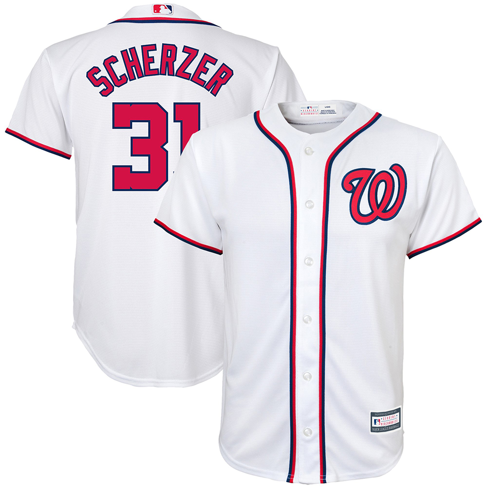b9915115114 ... National league in 2016. You will therefore be recognized as a  connoisseur by wearing this MLB Washington Nationals Max Scherzer Cool Base  Home shirt ...