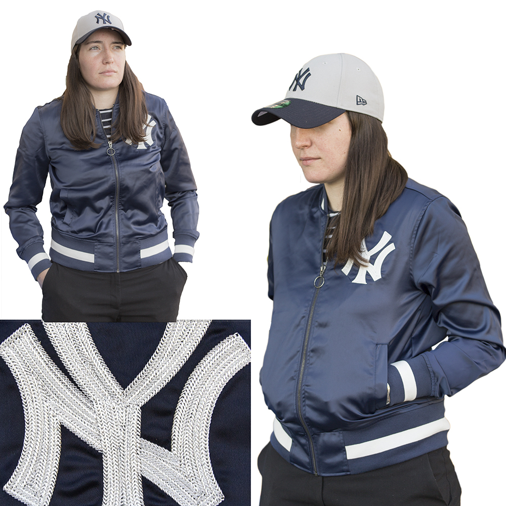 Touch By Alyssa Milano  MLB New York Yankees Women's Satin Bomber Jacket