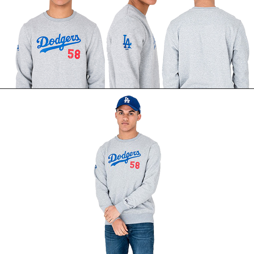 New Era MLB Los Angeles Dodgers Tem Apparel Script Crew Neck