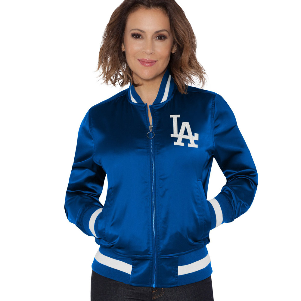Touch By Alyssa Milano  MLB Los Angeles Dodgers Satin Bomber Jacket
