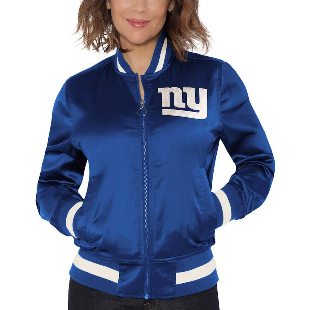 Touch By Alyssa Milano  NFL New York Giants Women's Satin Bomber Jacket
