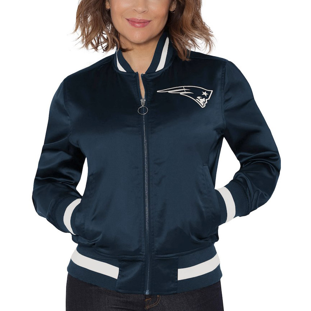 Touch By Alyssa Milano  NFL New england Patriots Women's Satin Bomber Jacket