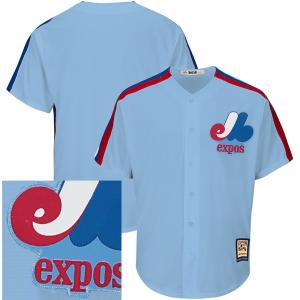 Majestic MLB Montreal Expos Road Cooperstown Light Blue Cool Base Jersey