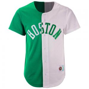 Mitchell & Ness NBA Boston Celtics Split Color Mesh ButtonFront Green/White
