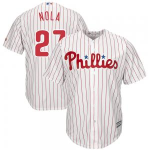 Majestic MLB Philadelphia Phillies Aaron Nola White Home Official Cool Base Player Jersey