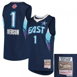 Mitchell & Ness NBA Detroit Pistons Allen Iverson #1 2009 Hardwood Classic Swingman Jersey All Star East