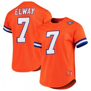 Mitchell & Ness NFL Denvers Broncos John Elway Player Name & Number Mesh Crew Neck Top