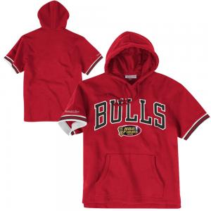 Mitchell & Ness Sweat à Capuche Manches Courtes NBA Chicago Bulls Style Eponge Française
