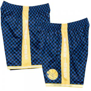 Mitchell & Ness Short de Basketball NBA Golden State Warriors à Damiers Swingman