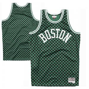 Mitchell & Ness Maillot de Basketball NBA Boston Celtics- modèle Swingman à Damier