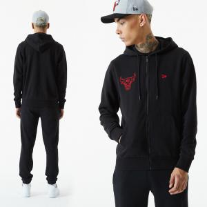 New Era Sweat à Capuche NBA Chicago Bulls modèle Chain Stitch Hoody noir